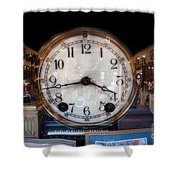 Shower Curtain featuring the photograph Antique Clock Store by Gunter Nezhoda