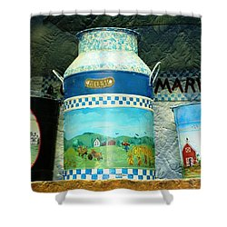 Shower Curtain featuring the photograph Antique Dairy Milk Can And Pails by Judy Palkimas