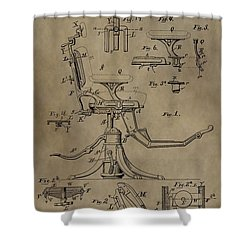 Antique Dental Chair Patent Shower Curtain by Dan Sproul