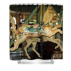 Antique Dentzel Menagerie Carousel Cat Shower Curtain