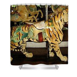 Antique Dentzel Menagerie Carousel Tiger Shower Curtain