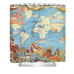 Antique Illustrated Map Of The World Shower Curtain by Anonymous