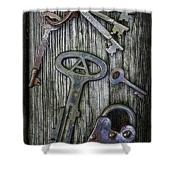 Antique Keys And Padlock Shower Curtain by Paul Ward