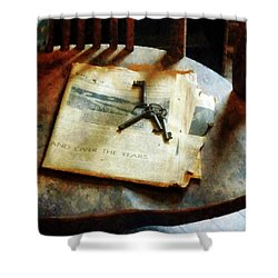 Shower Curtain featuring the photograph Antique Keys On Newspaper by Susan Savad