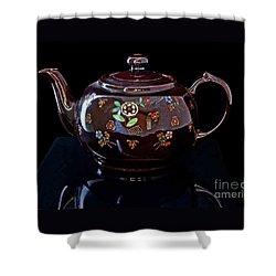 Antique Native American Teapot On Black Art Prints Shower Curtain