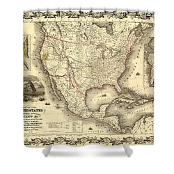 Antique North America Map Shower Curtain