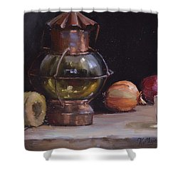 Antique Old Lantern And Onions Shower Curtain