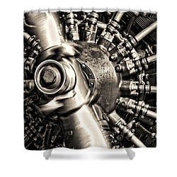 Antique Plane Engine Shower Curtain