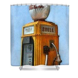 Antique Shell Gas Pump Shower Curtain