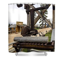 Shower Curtain featuring the photograph Antique Table Saw Tool Wood Cutting Machine by Paul Fearn
