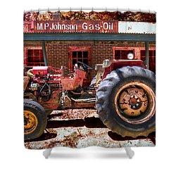 Antique Tractor Shower Curtain by Debra and Dave Vanderlaan