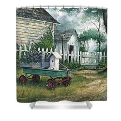 Antique Wagon Shower Curtain by Michael Humphries