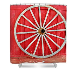 Shower Curtain featuring the photograph Antique Wagon Wheel by Judy Palkimas