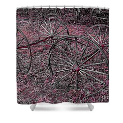 Shower Curtain featuring the photograph Antique Wagon Wheels by Sherman Perry