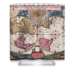 Antique World Map 1695 Novus Planiglobii Terrestris Per Utrumque Polum Conspectus Shower Curtain by Karon Melillo DeVega