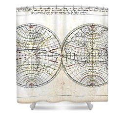 Antique World Map Harmonie Ou Correspondance Du Globe 1659 Shower Curtain by Karon Melillo DeVega