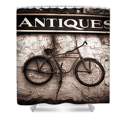 Antiques And The Old Bike Shower Curtain by Bob Orsillo