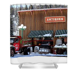 Antiques In The Mountains Shower Curtain by Fiona Kennard