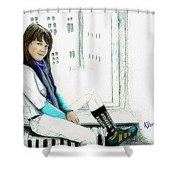 Shower Curtain featuring the drawing Antonela In The Window by Albert Puskaric