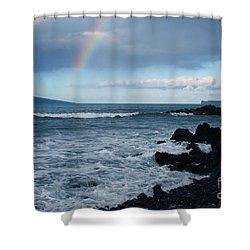 Anuenue - Rainbow Over  Alalakeiki Channel Kihei Maui Hawaii Shower Curtain by Sharon Mau