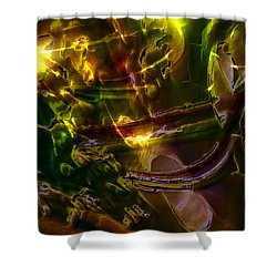Shower Curtain featuring the digital art Apocryphal - Tilting From Beastback by Richard Thomas