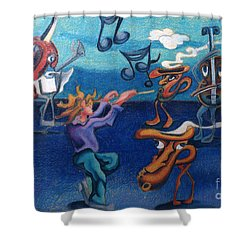 Apollinaire's First Symphony With Musical Instruments Shower Curtain by Genevieve Esson