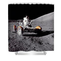 Apollo 17 Moon Rover Ride Shower Curtain by Movie Poster Prints