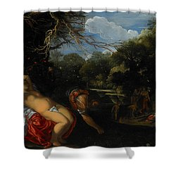 Apollo And Coronis Shower Curtain by Adam Elsheimer