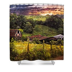 Appalachian Mountain Farm Shower Curtain by Debra and Dave Vanderlaan