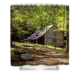 Appalachian Mountain Log Cabin Shower Curtain by Paul W Faust -  Impressions of Light