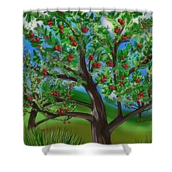 Apple Acres Shower Curtain by Christine Fournier