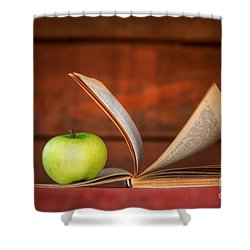 Apple And Book Shower Curtain by Michal Bednarek