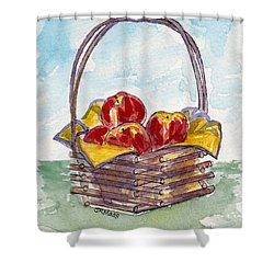 Apple Basket Shower Curtain by Julie Maas