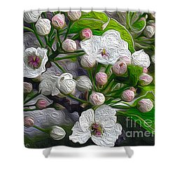 Shower Curtain featuring the photograph Apple Blossoms In Oil by Nina Silver