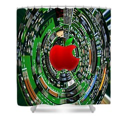 Apple Computer Abstract Shower Curtain by Sandi OReilly