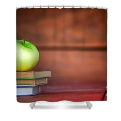 Apple On Pile Of Books Shower Curtain by Michal Bednarek