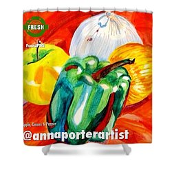 Apple, Onions And Pepper A Digital Edit Shower Curtain