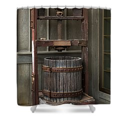 Apple Press Shower Curtain by Dale Kincaid