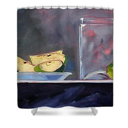 Apple Snack Shower Curtain by Nancy Merkle