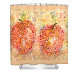 Apple Twins Shower Curtain by Paula Ayers