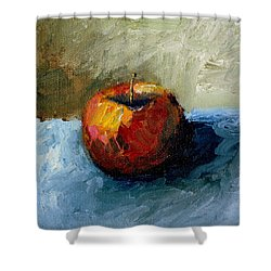 Apple With Olive And Grey Shower Curtain