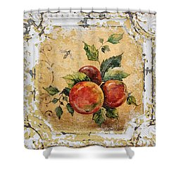Apples And Bee On Vintage Tin Shower Curtain by Jean Plout