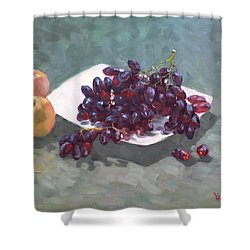 Apples And Grapes Shower Curtain by Ylli Haruni