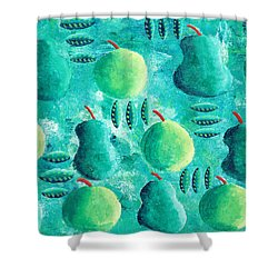 Apples And Pears Shower Curtain by Julie Nicholls
