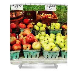 Apples At Farmer's Market Shower Curtain by Susan Savad