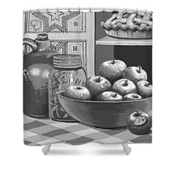 Shower Curtain featuring the digital art Apples Four Ways by Carol Jacobs