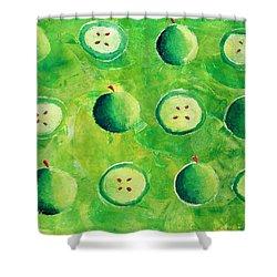 Apples In Halves Shower Curtain by Julie Nicholls