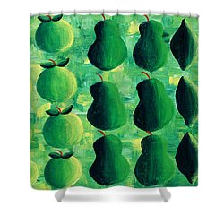 Apples Pears And Limes Shower Curtain by Julie Nicholls