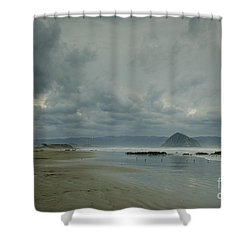 Approaching Storm - Morro Rock Shower Curtain