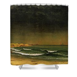 Approaching Storm Near Newport Beach Shower Curtain by Martin Heade